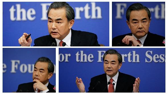 Фото: Мимика министра иностранных дел КНР Ван И на пресс-конференции на тему 'Внешняя политика и международные отношения Китая' в рамках 4-й сессии ВСНП 12-го созыва