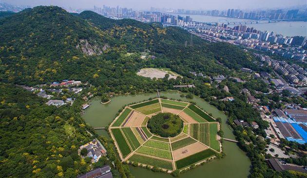 Город Ханчжоу с высоты птичьего полета