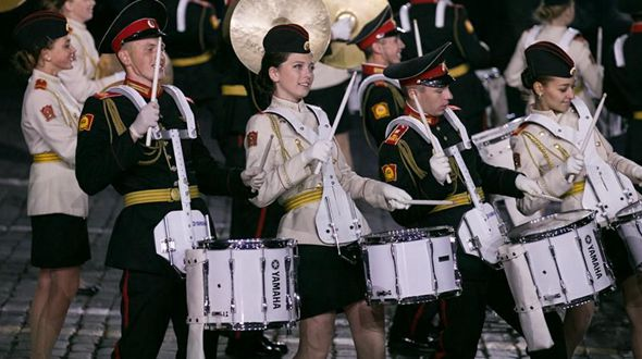 Закрытие Международного военно-музыкального фестиваля 'Спасская башня' в Москве