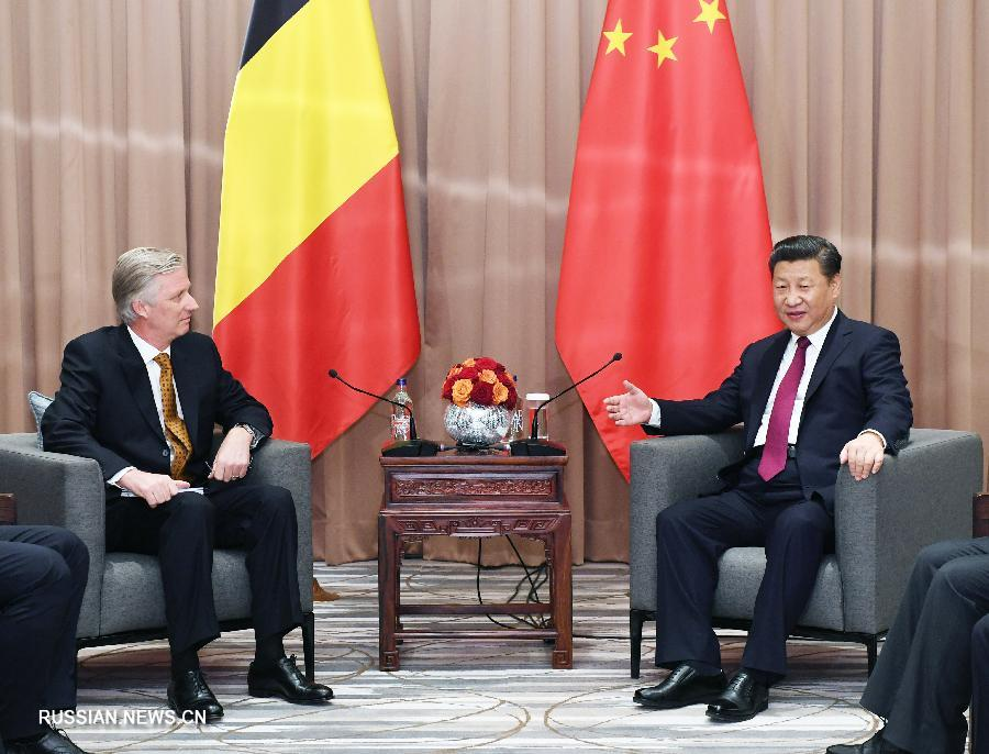 Председатель КНР Си Цзиньпин сегодня здесь провел встречу с королем Бельгии Филиппом.