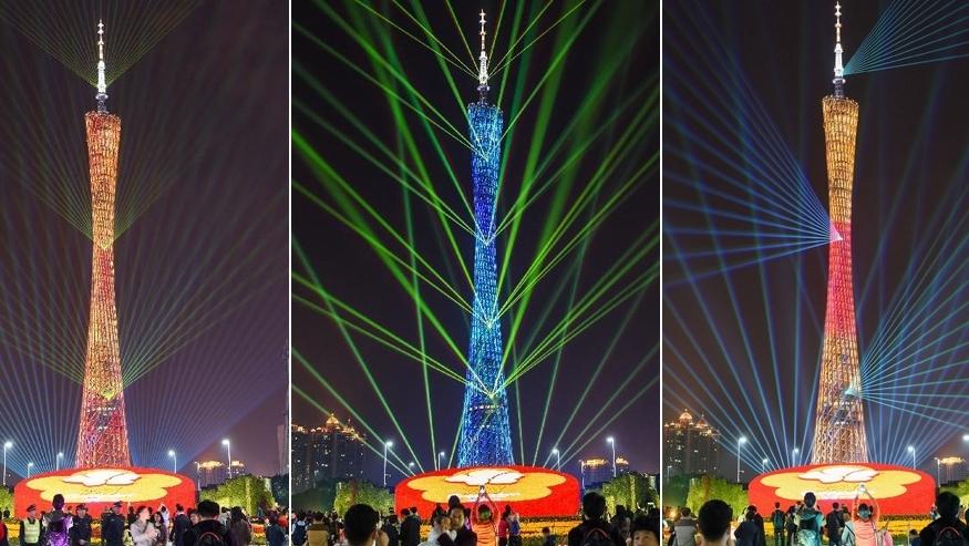 Световое шоу на Гуанчжоуской телебашне