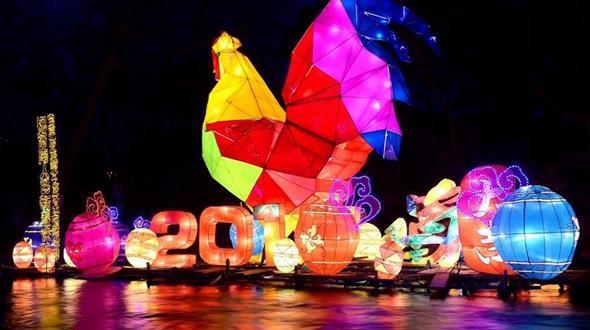 Фестиваль фонарей в честь года Петуха в Цзинане