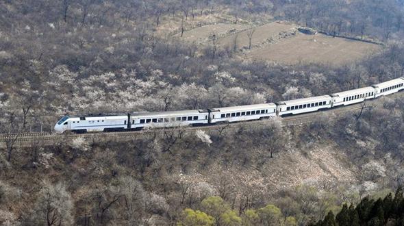 Поезд среди весенних пейзажей