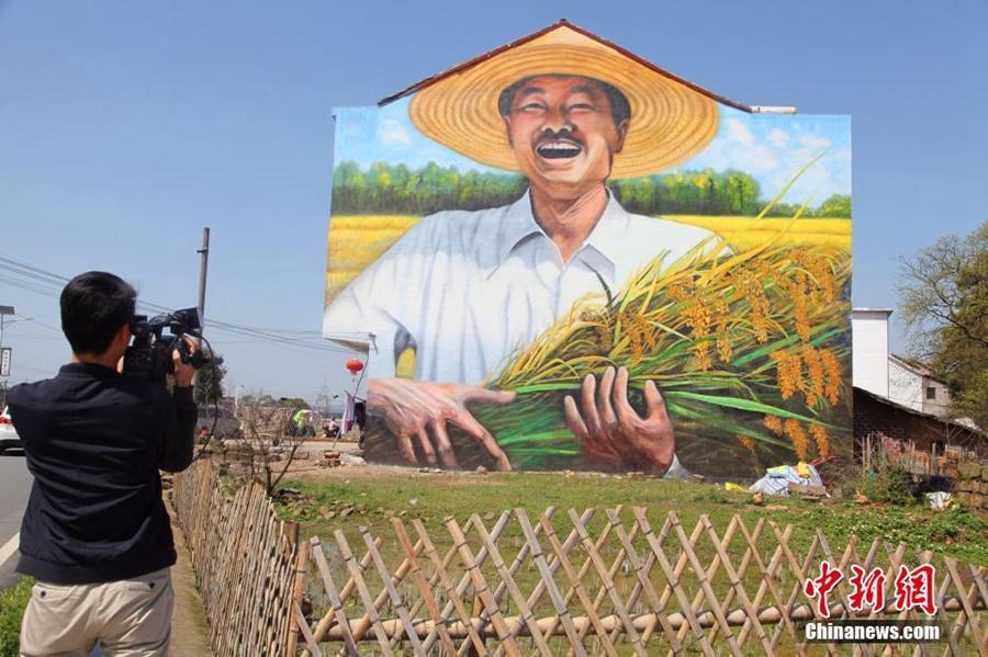 Картины в форме 3D на стенах домов крестьян в провинции Цзянси