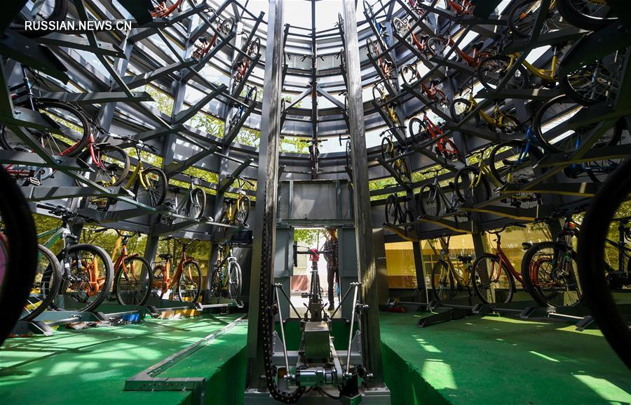 В одном из вузов Тяньцзиня появилась интеллектуальная система парковки общественных велосипедов