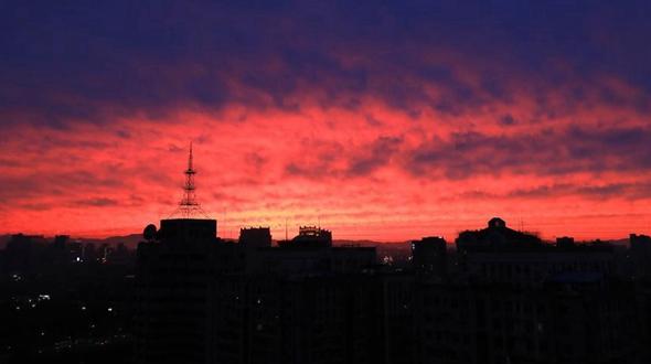 Вечерняя заря над Пекином