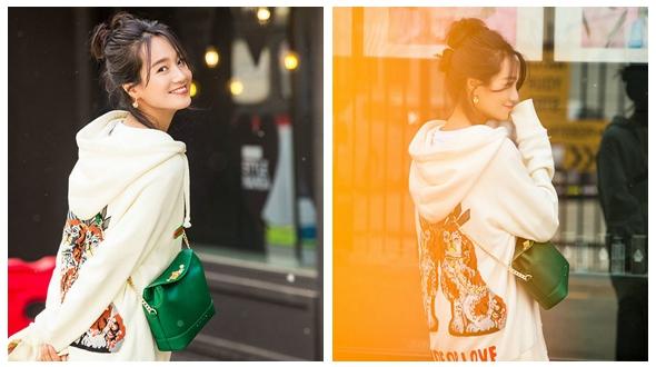 Очаровательная актриса Чжу Дань на улицких фото