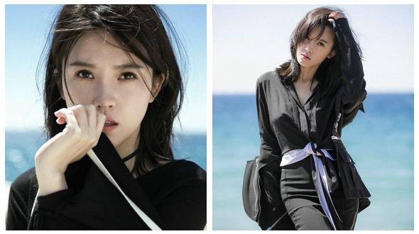 Кинозвезда Ян Цзышань гуляла по берегу моря