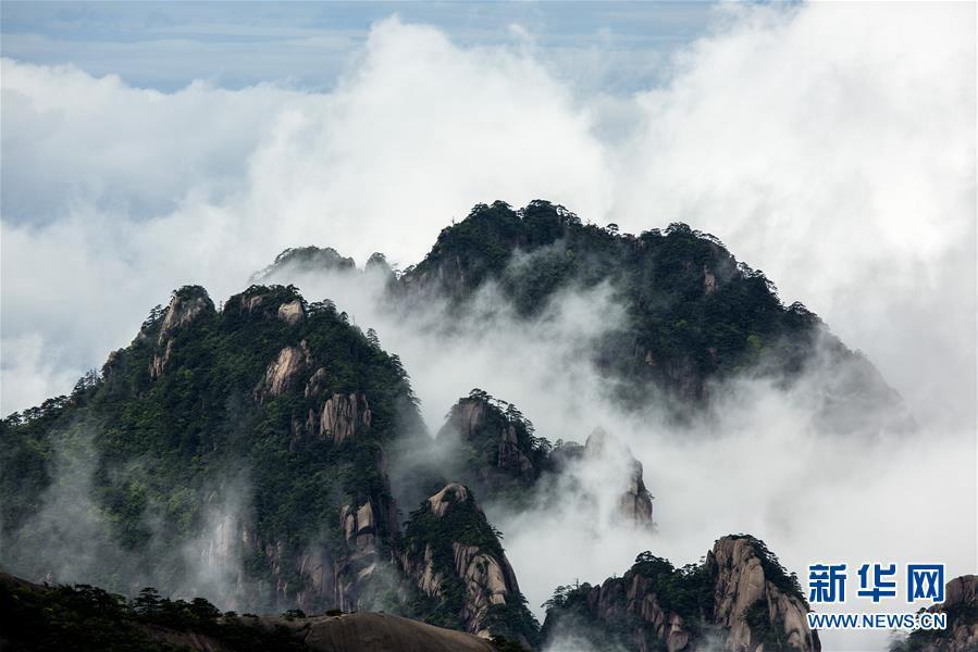 Живописные горы Хуаншань после дождя