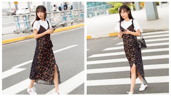 Молодая актриса Чжан Цзяни появилась на улице