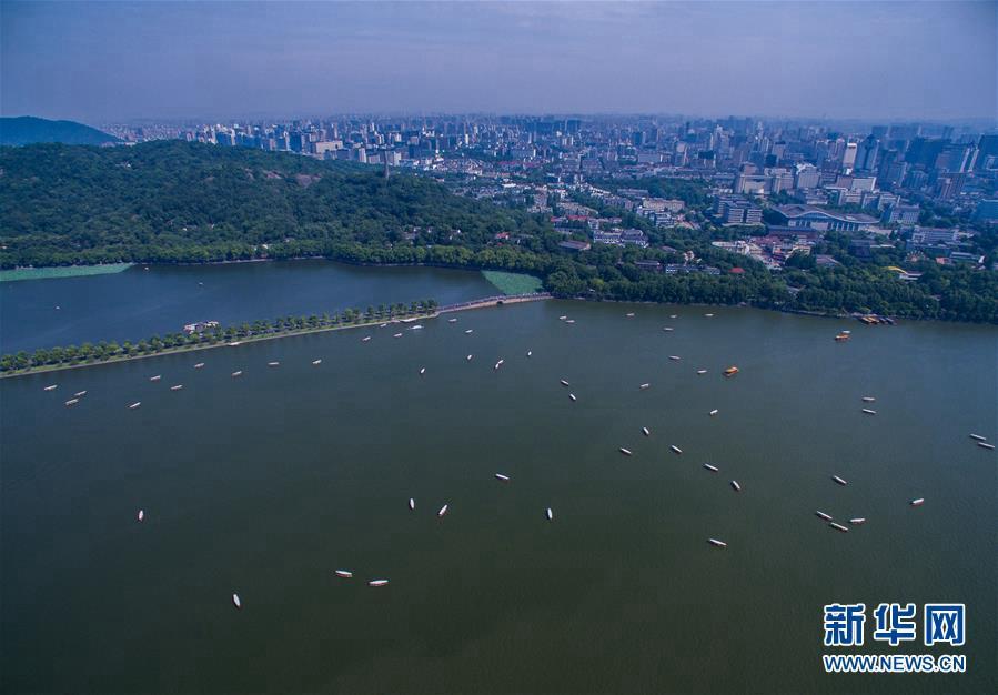 Летние пейзажи озера Сиху с высоты птичьего полета