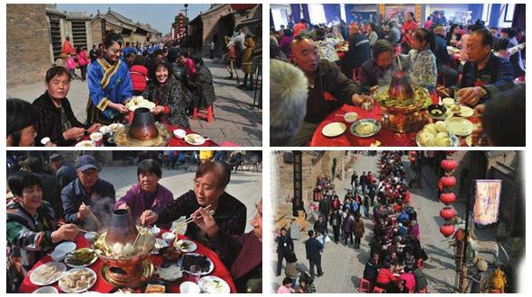 В древнем поселке Цинлун устроили банкет для престарелых