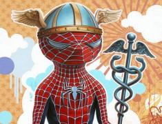 Las caricaturas irónicas de los superhéroes
