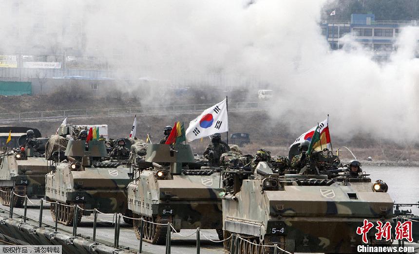 Soldados de Corea del Sur realizan ejercicios militares en Hwacheon