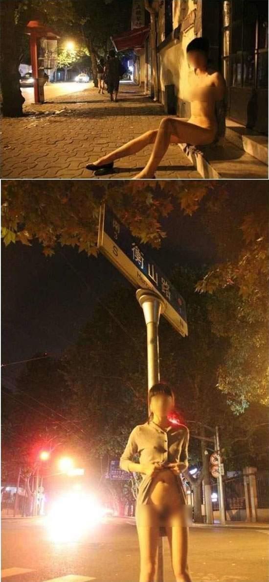 Una mujer se exhibe a los parranderos nocturnos 1