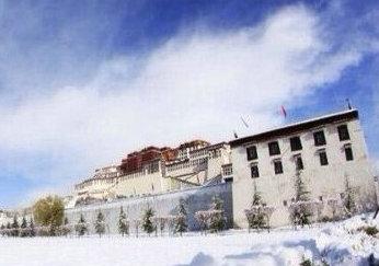 La ciudad sagrada Lhasa cubierta de nieve