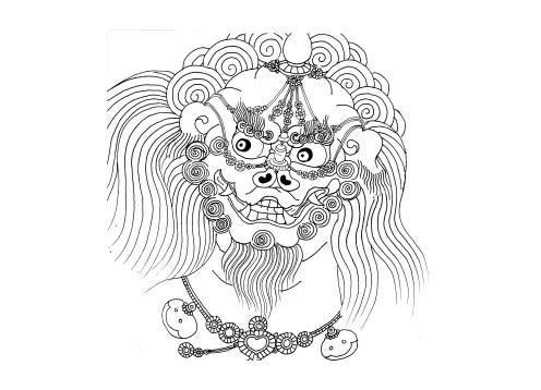 石狮手绘图片大全