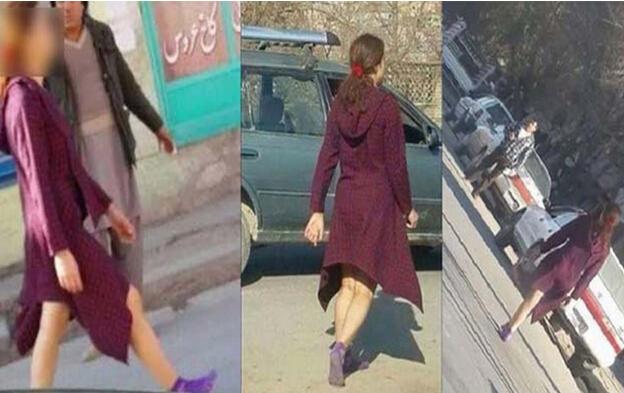 la mujer afgana que camina por las calles mostrando su rostro y piernas