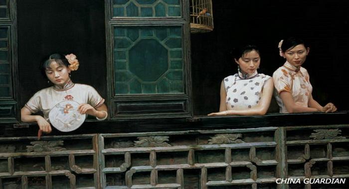 La belleza china del Qipao inmortalizada en óleos