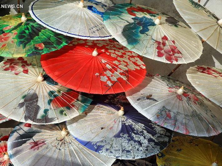 Sombrillas de papel aceitado en Sichuan