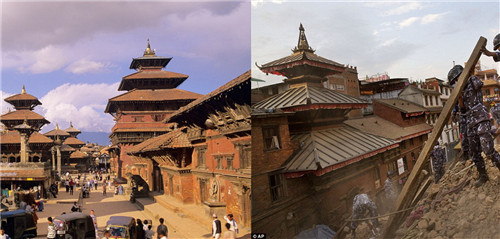 Imágenes de patrimonios nepaleses antes y después del sismo
