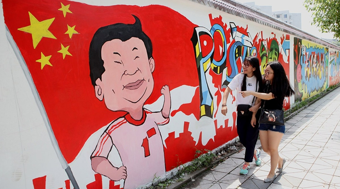 un grafiti del presidente xi jinping en la universidad spanish china
