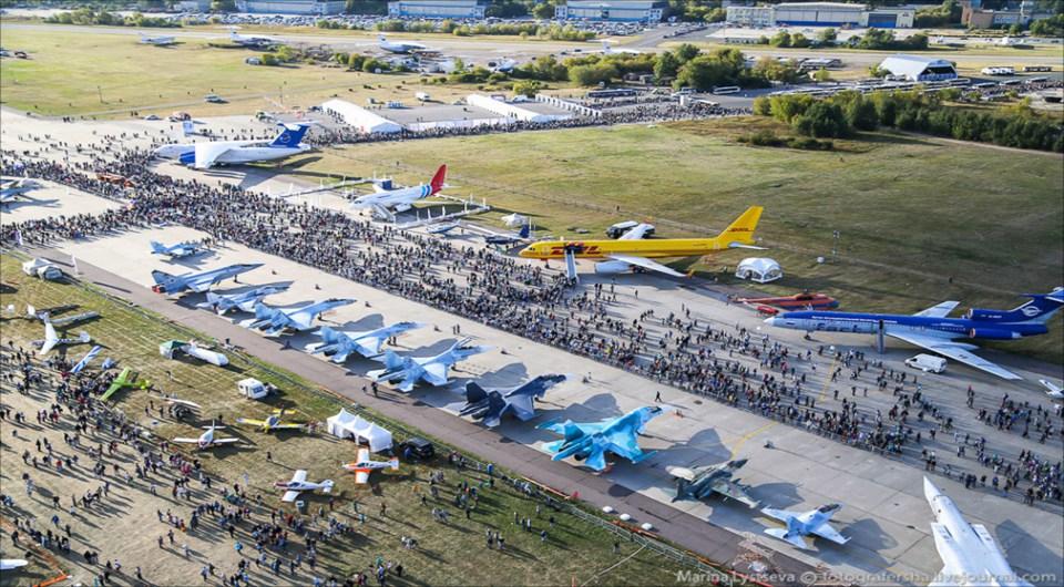 Foto aérea de la impresionante exhibición MAKS-2015