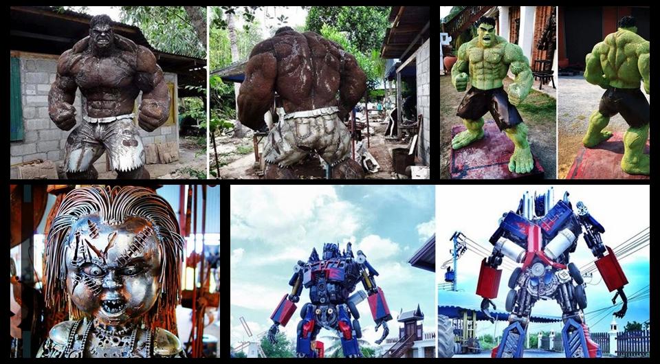 Esculturas de metal recrean personajes famosos de películas
