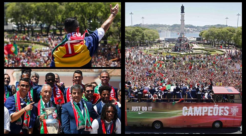 La selección portuguesa celebró la Eurocopa por las calles de Lisboa