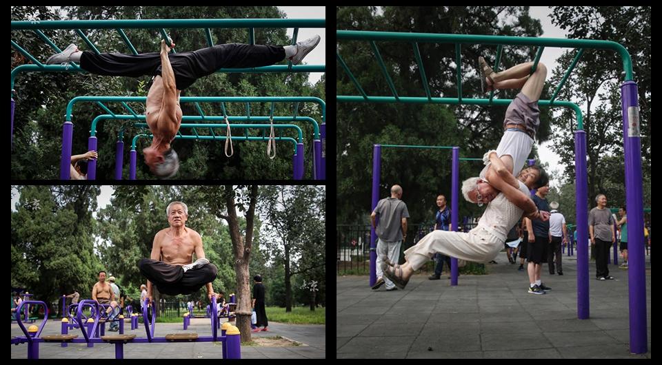 """Los abuelitos del """"kung fu"""" muestran sus habilidades en el parque"""