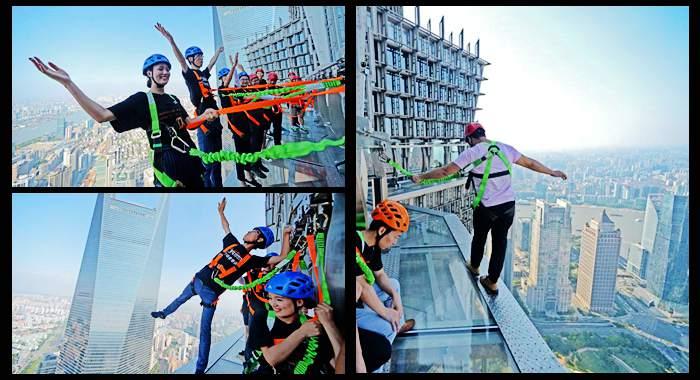 Los visitantes pueden probar su valor en la pasarela de Shanghái