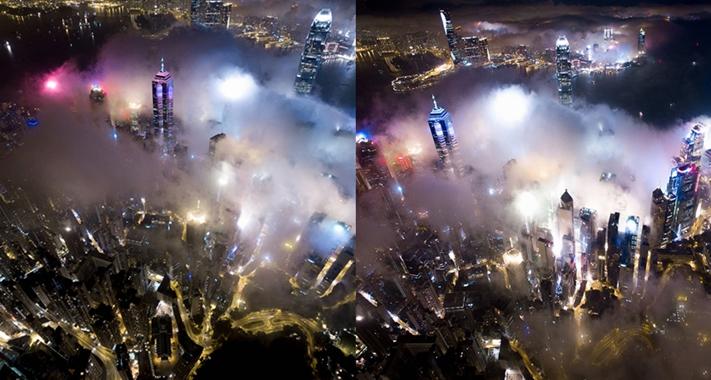 La noche de Hong Kong desde las alturas