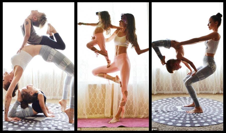 La mujer hace yoga con sus niños