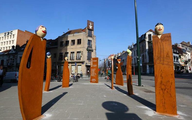 Las esculturas 'Ciudadanos Europeos' en Bruselas