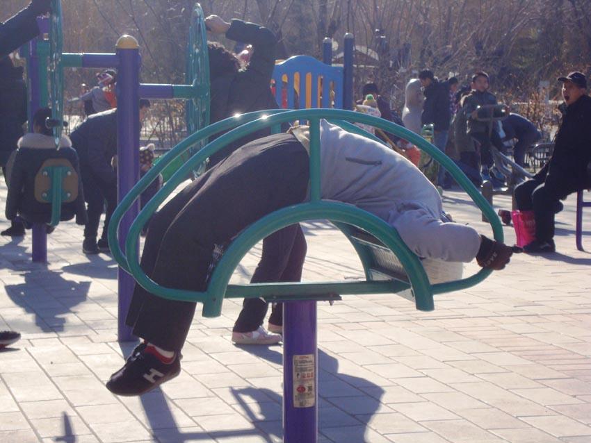 Ejercicio en las calles de Beijing
