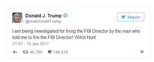 Trump asegura que está bajo investigación por el despido del director del FBI
