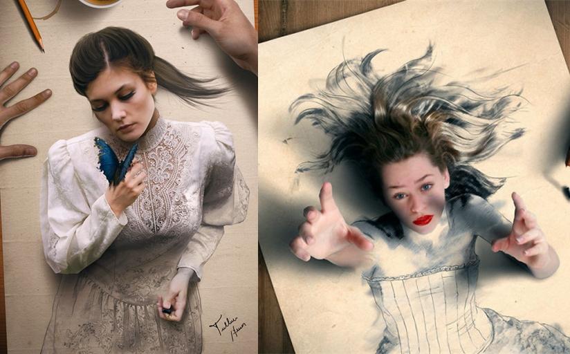 El artista brasileño crea pinturas digitales que saltan del papel