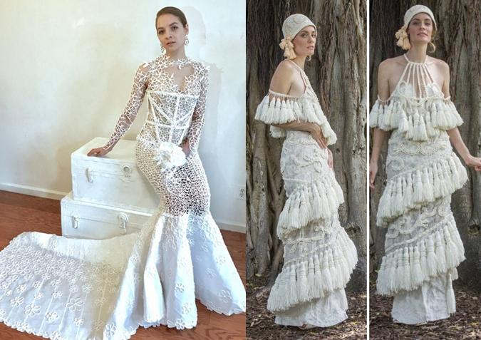 Preciosos y ecológicos: vestidos de novia hechos de papel higiénico