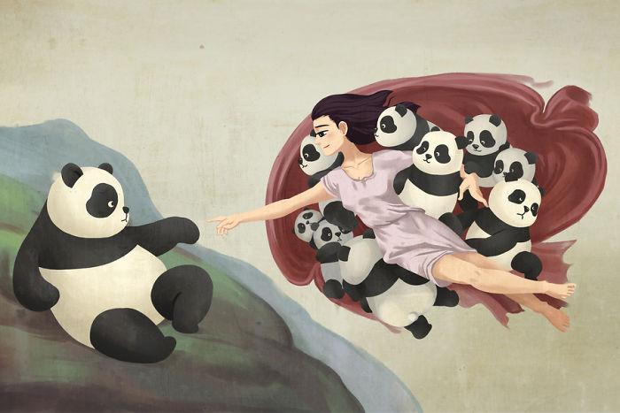 Pinturas famosas que se ven mejor con pandas