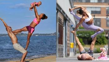 Pareja practica yoga de manera increíble
