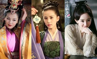 Actrices chinas en vestidos tradicionales interpretan la belleza oriental