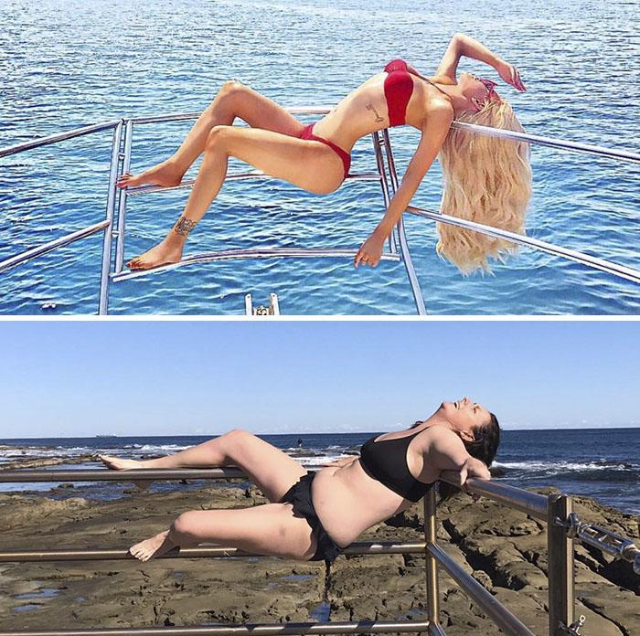 Mujeres recrean fotos publicadas en Instagram por las famosas