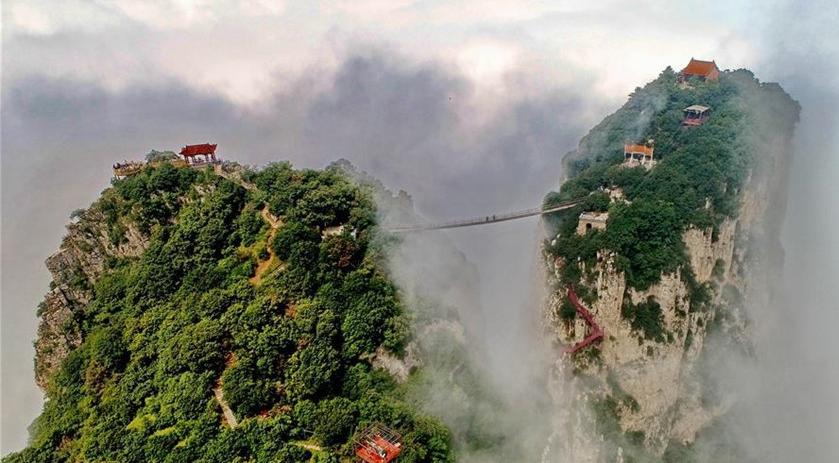 Shanxi: Vista del Pico de Wulao en Yongji