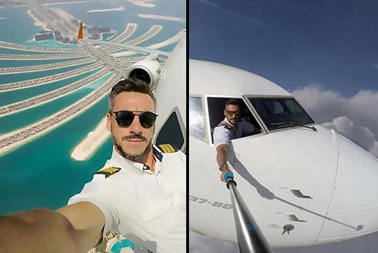 Peligrosos selfies de piloto se vuelven virales en internet
