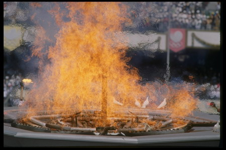 A general view of the Olympic Flame during the 1988 Summer Olympics in Seoul, South Korea.