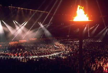General view of the Olympic Stadium with the Olympic Flame during the closing ceremony of the 1988 Olympic Games in Seoul, South Korea.