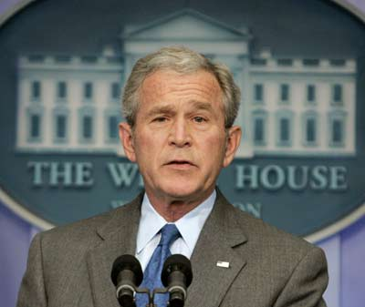 U.S. President George W. Bush holds a news conference in the White House Press Briefing Room in Washington Feb. 28, 2008. Bush said that the U.S. economy is in a slowdown but not headed into a recession. (Xinhua/Reuters Photo)