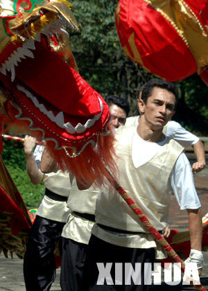 Brazilian youth learn to perform traditional Chinese dragon dance in Sao Paolo of Brazil, March 23, 2008. Organized by China Overseas Exchanges Association, a three-day training camp is held in Sao Poalo to teach the Brizilian young people who are interested in traditional Chinese culture and acqierements.