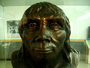 Bust of Peking Man on permanent display at Zhoukoudian.