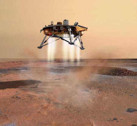 This artist's concept depicts NASA's Phoenix Mars Lander a moment before its planned touchdown on the arctic plains of Mars.